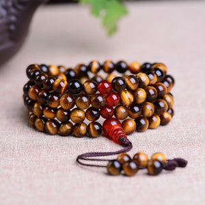 Natural Tiger's Eye Mala Prayer 108 Beads