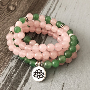 Natural Green Aventurine & Rose Quartz 108 Mala Beads Bracelet