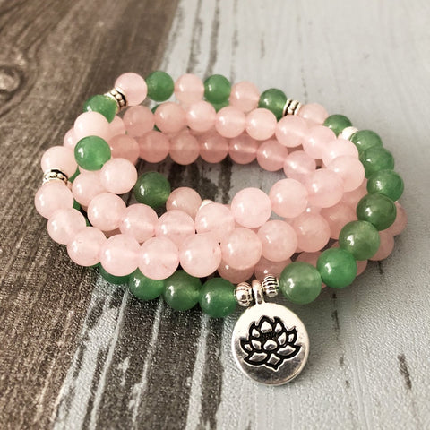Image of Natural Green Aventurine & Rose Quartz 108 Mala Beads Bracelet