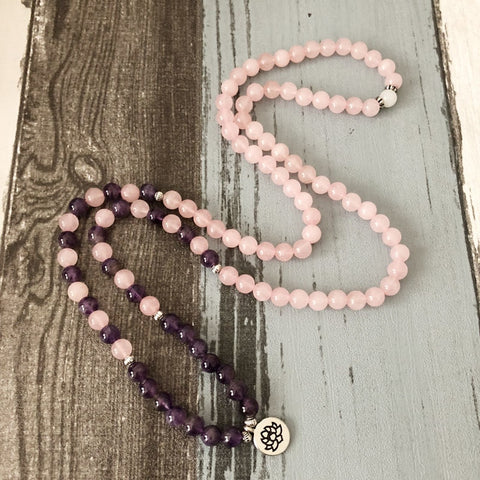 Natural Amethyst and Rose Quartz 108 Mala Beads Bracelet