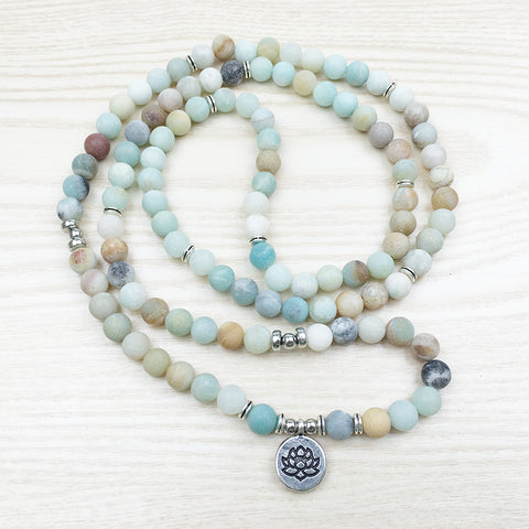 Image of 108 Natural Matte Amazonite Stone Mala Prayer Beads