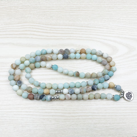 108 Natural Matte Amazonite Stone Mala Prayer Beads