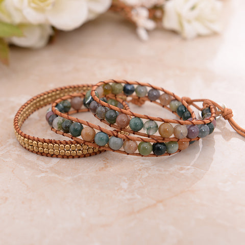 Handmade Natural Indian Agate Leather Wrap Bracelet