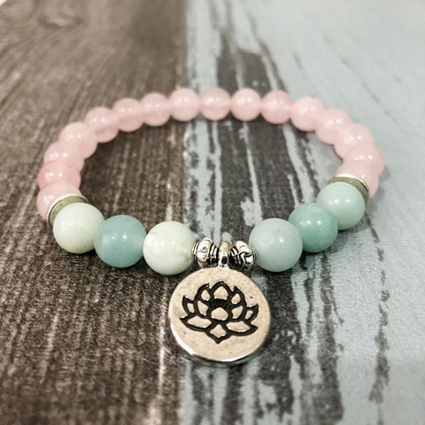 Natural Rose Quartz & Amazonite Gemstone Bead Mala Bracelet - 3 Charms