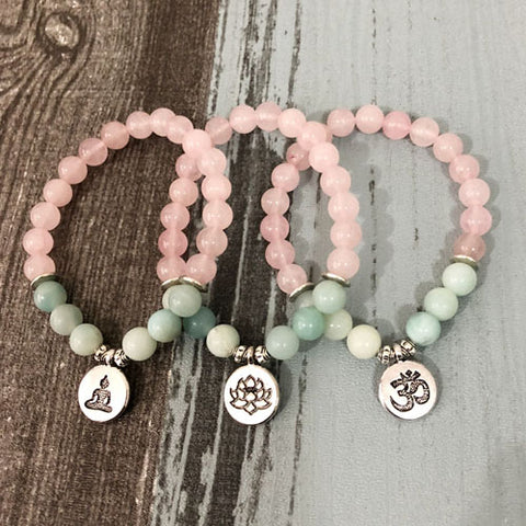 Image of Natural Rose Quartz & Amazonite Gemstone Bead Mala Bracelet - 3 Charms