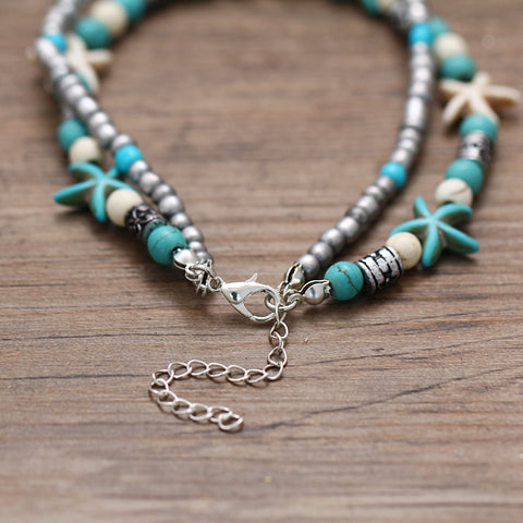 Image of Starfish & Turtle Beaded Multi Layer Anklet