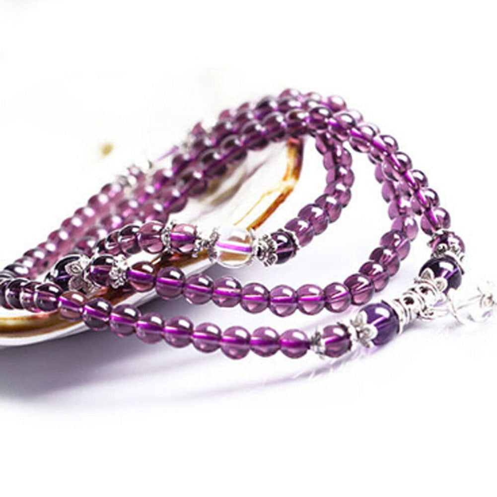 Natural Amethyst 108 Prayer Mala Beads