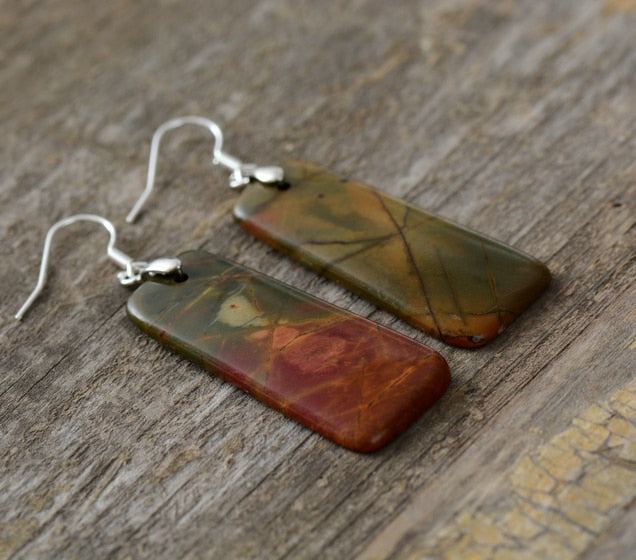 Natural Picasso Jasper Stone Earrings