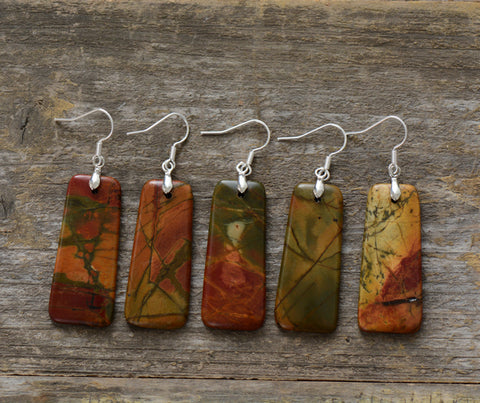 Image of Natural Picasso Jasper Stone Earrings