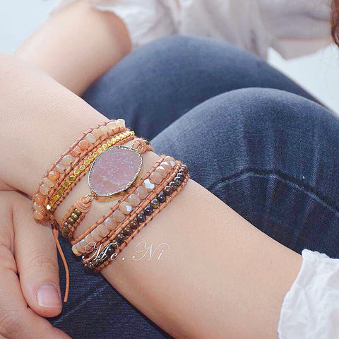 Image of Handmade Natural Bronzite & Sunstone Wrap Bracelet