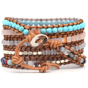 Handmade Natural Ocean Jasper Leather Wrap Bracelet