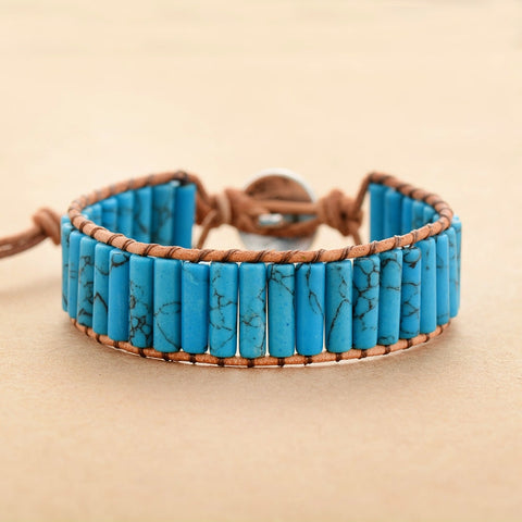Image of Natural Turquoise Stone Wrap Bracelet With Tree of Life Charm
