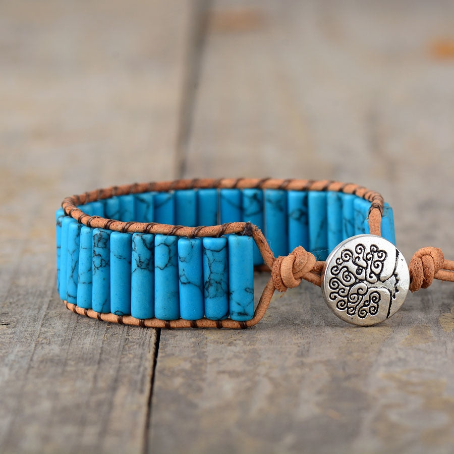 Natural Turquoise Stone Wrap Bracelet With Tree of Life Charm