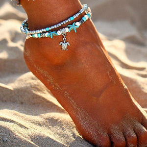 Starfish & Turtle Beaded Multi Layer Anklet