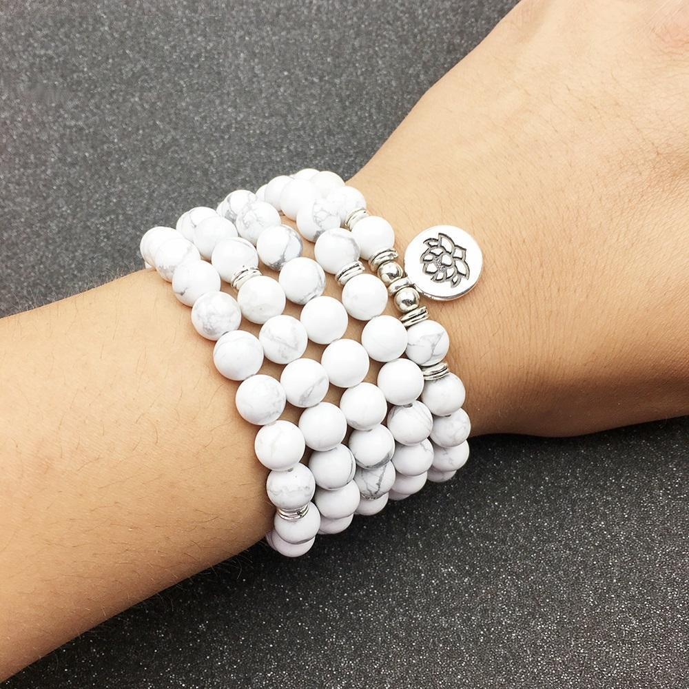 Natural White Howlite 108 Mala Beads Bracelet