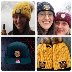 custom hats and beanies by Buddha Gear w Beehive Buds CBD logo