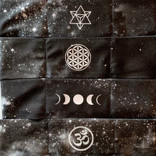 Load image into Gallery viewer, Hand Made Black Cosmo Buddha Band with Om, Flower of Life, Moons and Merkaba over your third eye