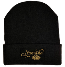 Load image into Gallery viewer, Black Cuffed Beanie with Black and Gold Handmade, Vegan Leather Namaste Lotus over your Third Eye