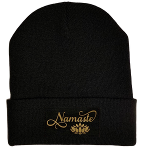 Black Cuffed Beanie with Black and Gold Handmade, Vegan Leather Namaste Lotus over your Third Eye