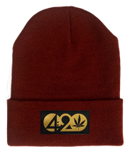 Load image into Gallery viewer, Beanie - Burgundy Buddha Beanie with Black & Gold Handmade Vegan Leather Cannabis, Flower of Life, Merkaba, Om, Eye of Horus, Mushrooms, Compass, Yin Yang Sun, Tree of Life, Triquetra, Ganesha, 420, Moons, Butterfly Patch over your Third Eye