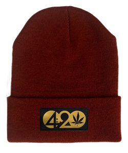 Beanie - Burgundy Buddha Beanie with Black & Gold Handmade Vegan Leather Cannabis, Flower of Life, Merkaba, Om, Eye of Horus, Mushrooms, Compass, Yin Yang Sun, Tree of Life, Triquetra, Ganesha, 420, Moons, Butterfly Patch over your Third Eye