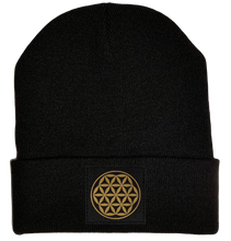 Load image into Gallery viewer, Beanie - Black cuffed w, Black and Gold Hand Made Flower of Life Vegan Leather patch over your Third Eye buddha gear