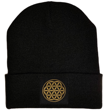Beanie - Black cuffed w, Black and Gold Hand Made Flower of Life Vegan Leather patch over your Third Eye buddha gear