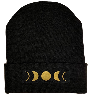 Beanies - Black Cuffed Buddha Beanie with Handmade Black and Gold Moon Phase patch over your Third Eye