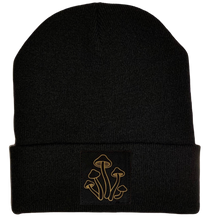 Load image into Gallery viewer, Beanie - Black cuffed w, Black and Gold Hand Made Mushroom, Vegan Leather Patch over your Third Eye