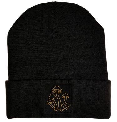 Beanie - Black cuffed w, Black and Gold Hand Made Mushroom, Vegan Leather Patch over your Third Eye