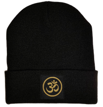 Load image into Gallery viewer, Buddha Gear Black Beanie with golden om ohm symbol over your third eye buddha gear