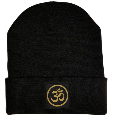 Buddha Gear Black Beanie with golden om ohm symbol over your third eye buddha gear