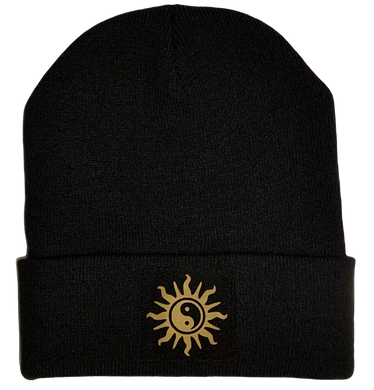 Black Yin Yang cuffed beanie by buddha gear buddha clothing yoga hat yoga beanie