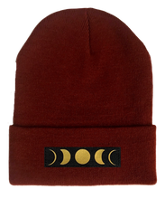 Load image into Gallery viewer, Beanie, Burgundy Buddha Beanie w Handmade moon phase patch buddha gear