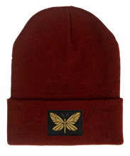 Load image into Gallery viewer, Beanie, Burgundy Buddha Beanie w Handmade butterfly buddha gear