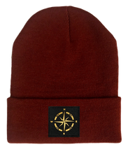Load image into Gallery viewer, burgundy beanie w golden compass by buddha gear