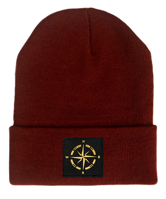 burgundy beanie w golden compass by buddha gear