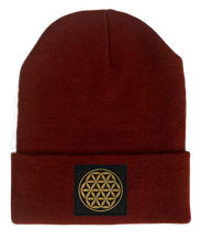 Load image into Gallery viewer, Beanie, Burgundy Buddha Beanie w Handmade flower of life patch buddha gear