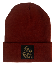 Load image into Gallery viewer, Beanie, Burgundy Buddha Beanie w Handmade mushrooms patch by buddha gear