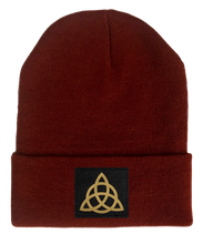 Load image into Gallery viewer, Beanie, Burgundy Buddha Beanie w Handmade celtic knot triquetra baby buddha gear