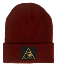 Load image into Gallery viewer, Beanie, Burgundy Buddha Beanie w Handmade eye of horus patch by buddha gear