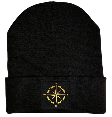 Buddha Gear Beanie - Black cuffed w, Black and Gold Hand Made Compass, Vegan Leather patch over your Third Eye