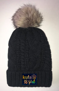 Black Plush Pom Pom Beanies by Buddha Gear and Kula Brands