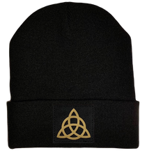 Load image into Gallery viewer, Beanie - Black cuffed w, Black and Gold Hand Made Celtic Triquetra, Vegan Leather patch over your Third Eye buddha gear