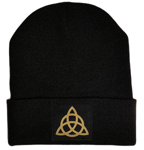 Beanie - Black cuffed w, Black and Gold Hand Made Celtic Triquetra, Vegan Leather patch over your Third Eye buddha gear