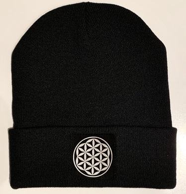 Beanie - Black Buddha Beanie with Vegan Leather Flower of Life, Sacred Symbol over your Third Eye buddha gear sacred geometry