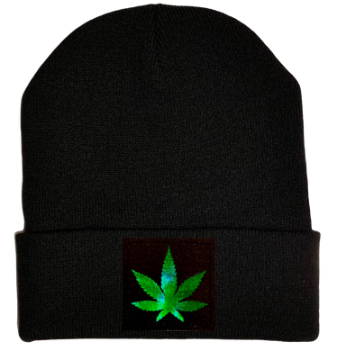 Beanie - Black with Hand Made Holographic Green, Vegan Leather Cannabis Leaf Patch over your Third Eye - Plant Medicine Hat buddha gear