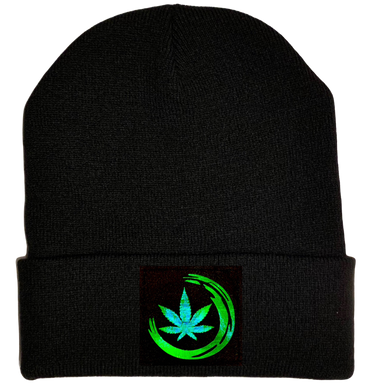Black Cuffed Beanie holo green cannabis swoosh