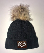 Load image into Gallery viewer, Buddha Gear, Black Plush Baby Pom Pom Beanie with Om, Lotus, Moons, Tree of Life, Unicorn, Namaste, Infinite Love, Flower of Life & Ichthus. All Vegan, Hand Made Sacred Geometry Patches yoga wear