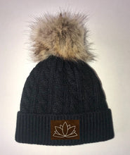 Load image into Gallery viewer, Buddha Gear Black Plush Baby Pom Pom Beanie with Om, Lotus, Moons, Tree of Life, Unicorn, Namaste, Infinite Love, Flower of Life & Ichthus. All Vegan, Hand Made Patches. Sacred Geometry Yoga wear